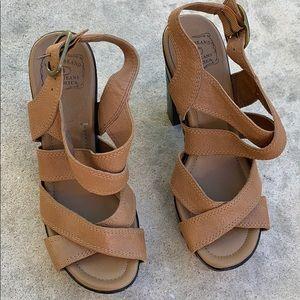 Lucky Brand Tessa Wooden Platform Heels Womens 7